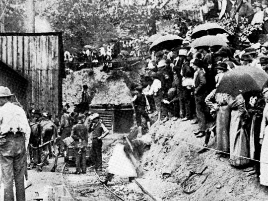 People gather at the entrance to the Fraterville Mine in May 1902 after an explosion claimed the lives of 216 miners. It was Tennessee's worst mine disaster.