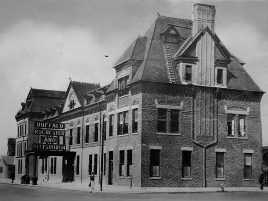 The Buffalo, Rochester and Pittsburgh Railroad station in the early 1900s, which is now Nick Tahou's on West Main Street.