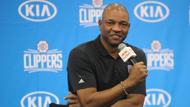 Doc Rivers speaks during media day at Clipper Training Facility in Playa Vista.