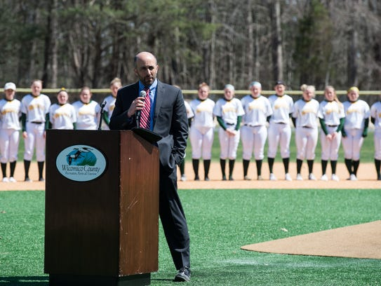 Steve Miller, director of Wicomico County Recreation, Parks and Tourism, speaks during the opening day ceremony at the Henry S. Parker Athletic Complex on Thursday, April 5, 2018.