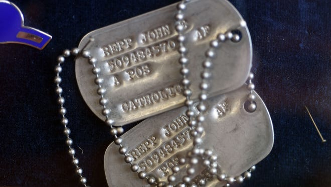 The dog tags of Vietnam veteran John Repp are shown. Repp's wife, Charlotte Repp, said her husband suffered from posttraumatic stress disorder at the time he committed suicide.