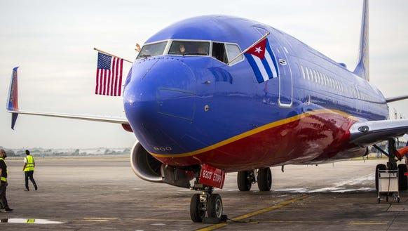 Southwest Airlines' maiden flight to Havana, Cuba,