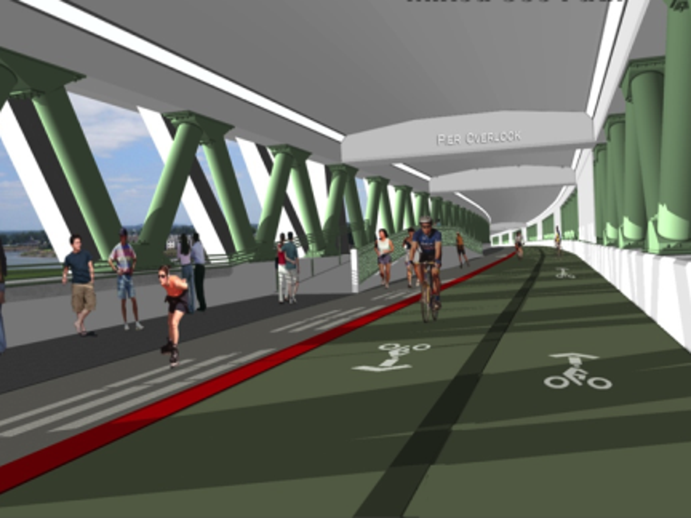 Rendering of the pedestrian and bicycle deck, underneath
