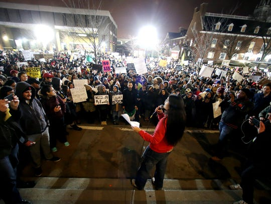 Fourteen Rutgers University student groups hold a rally