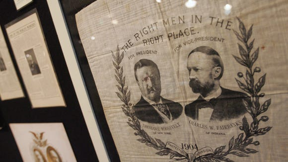 Political handkerchiefs like this one of Theodore Roosevelt and Indiana's Charles W. Fairbanks grace the walls at the Dan Quayle Center and Vice President Museum In Huntington Wednesday, April 9, 2008.  (Steve Sanchez / The Indianapolis Star)
