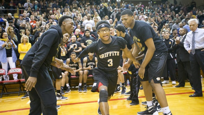 Kelston Haden, of Griffith High School, is introduced before boys semistate action against Marion High School, at Lafayette Jefferson High School, Lafayette, Wednesday, March 23, 2016. The Griffith team was involved in a Saturday bus accident that gave several members minor injuries and forced this four day postponement of the game.