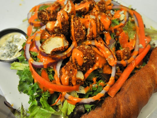 "A dish ""Buffalo Chicken Salad"" prepared Thursday afternoon by Townies Grill & Malarkey's Pub in downtown Wausau."