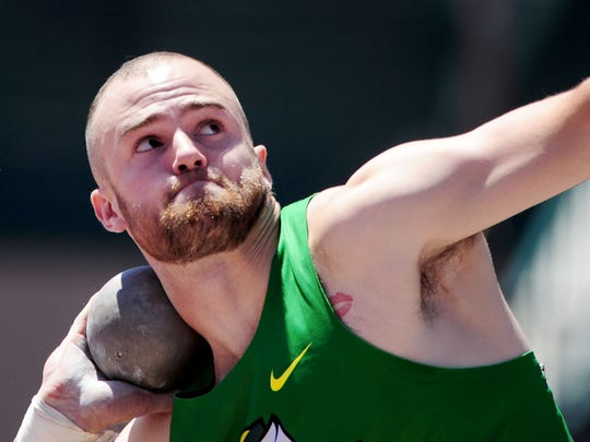Oregon's Dakotah Keys throws while competing in the decathlon shot put during the NCAA Men's Division I 2015 Outdoor Track & Field Championships at Hayward Field, on Wednesday, June 10, 2015, in Eugne, Ore.