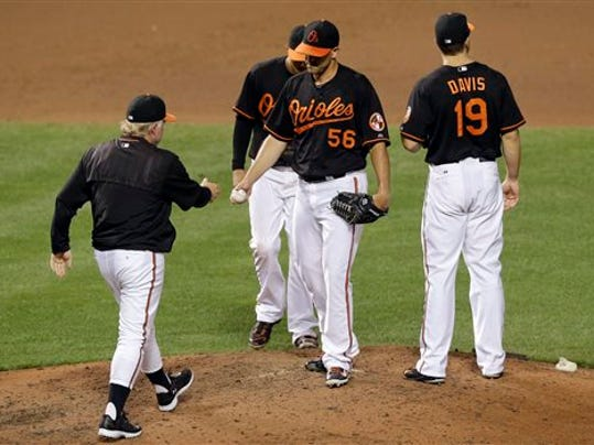Baltimore Orioles manager Buck Showalter, left, removes relief pitcher Darren O'Day (56) during the eighth inning against the Minnesota Twins on Friday in Baltimore.