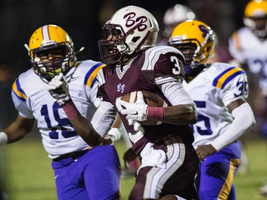 FILE -- Breaux Bridge receiver Daniel Lee (3) runs with the football during the first half of a 2015 game against St. Martinville.