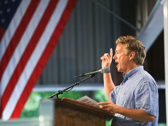 Sen. Rand Paul makes a point at Fancy Farm on Saturday