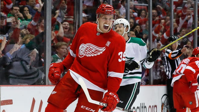Detroit Red Wings right wing Anthony Mantha (39) celebrates his goal against the Dallas Stars in the second period Tuesday, Nov. 29, 2016, in Detroit.