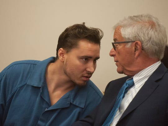 Mason Mallon, with attorney Jeffrey Zucker of Camden, appears in Superior Court, Camden, in August 2017.
