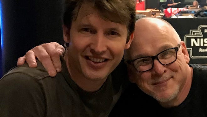 OPENING ACT – Don and Richard Rossi-Pace, well known concert aficionados, attended the Ed Sheeran Divide Tour concert at the Bridgestone Arena in Nashville recently.  They bumped into opening act James Blunt making for a sweet photo-op.