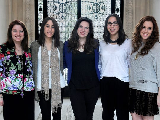 Marist College fashion program designers participating in the annual Silver Needle Fashion Show are, from left, Lauren Marsiglio of Goshen, Joanne Falce of Plainedge, Kelli-Anne Cerini of Smithtown, Diana Liu of Northport, and Amanda Lewis of Bethpage.