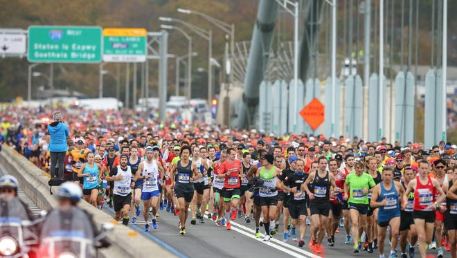 The first wave of runners at the Verrazano Bridge start at the Verrazano Bridge during the 2017 TCS New York City Marathon.