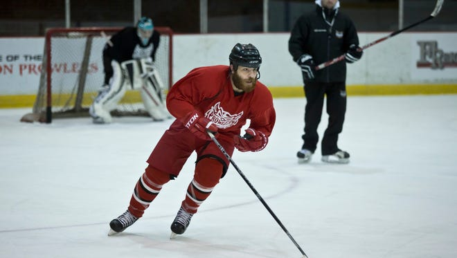 Port Huron Prowlers forward Ahmed Mahfouz works the puck down ice during practice Tuesday, November 24, 2015 at McMorran Arena.