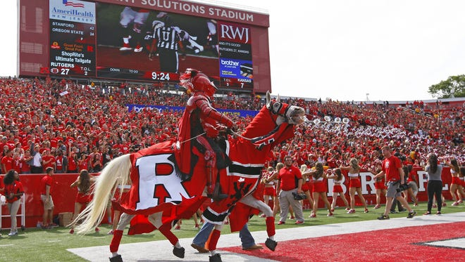 The Rutgers Scarlet Knight rides a horse in the end zone after a Rutgers game Sept. 26 in Piscataway, N.J.