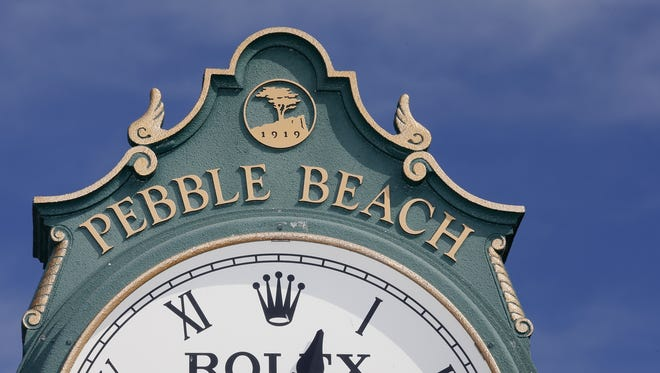 The Rolex clock near the 1st tee at the AT&T Pebble Beach National Pro-Am at Pebble Beach Golf Links in Pebble Beach, California.