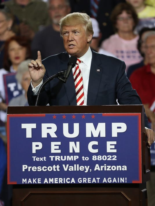 Republican presidential nominee Donald Trump holds a rally in Prescott Valley