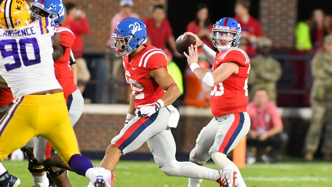 Shea Patterson passes against LSU last season. He ran the run-pass option at Ole Miss, and could do so again if he becomes the starter for Michigan.