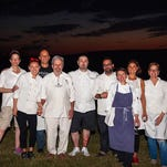 A group photo of the chefs and their assistants at the conclusion of the successful six-course Dinner Party.