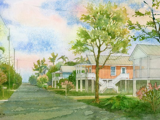"A rendering by Richard Chenoweth of ""Keys Cottages"""