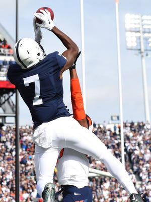 Penn State Nittany Lions wide receiver Geno Lewis hauls in a TD catch.