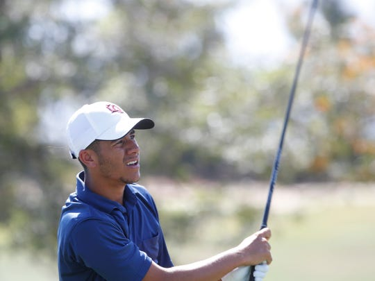 Cristian Elms, of La Quinta High School participates in the DVL Boys' Final at the Classic Golf Club in Palm Desert on April 26, 2018.