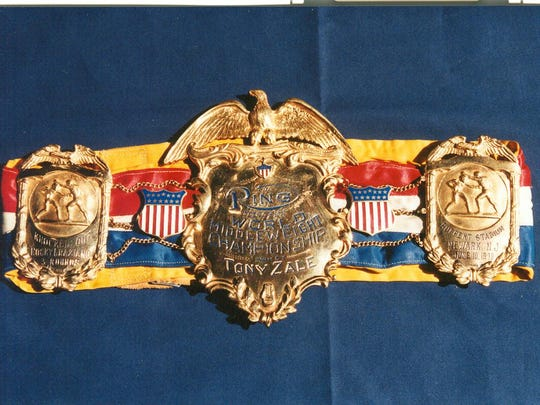 This belt was awarded to Tony Zale after his 1948 victory over Rocky Graziano for the world middleweight crown. It's one of six belts stolen from the Hall of Fame.