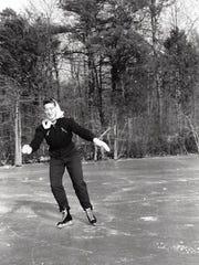 Arlene McGee Hewlett skates on Haven Lake in Milford