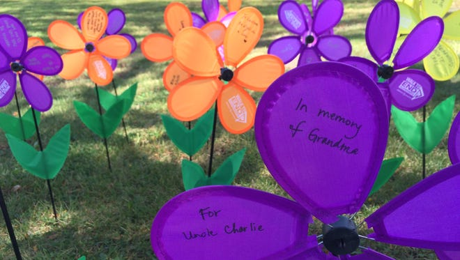 Participants in the 2015 Iowa City Walk to End Alzheimer's on Sunday planted flowers in memory of loved ones.
