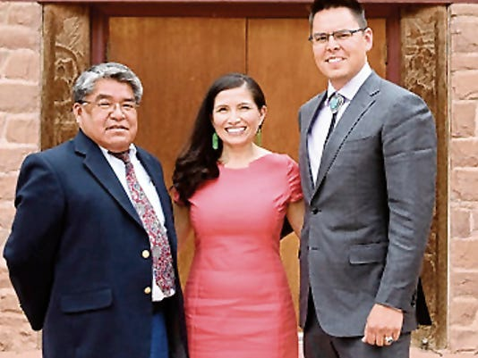 From left, Navajo Nation Division of Public Safety Executive Director Jesse Delmar, Attorney General Ethel Branch and Washington Office Executive Director Jackson Brossy pose on Thursday at the Navajo Nation Council Chamber in Window Rock, Ariz., after their confirmations.