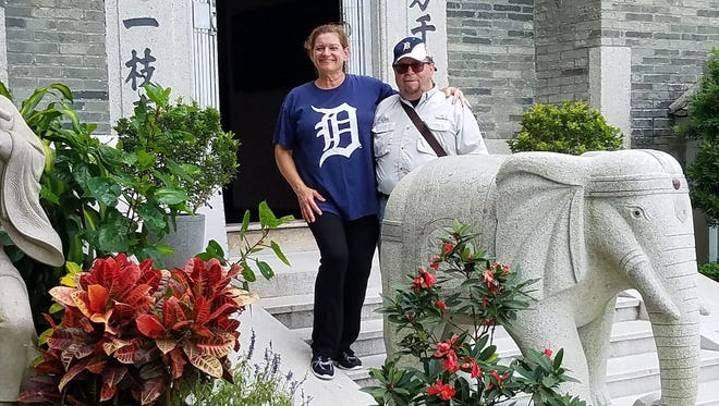 Anne and Arnold Calhoun from Auburn Hills took the D to the Ling Wan Temple in Hong Kong in June 2017. They were traveling with the Detroit area Wu Tai Chi Chuan practitioners for competitions in Singapore and touring in Hong Kong, Macau and Singapore.