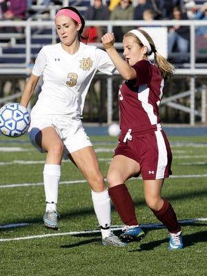 Notre Dame's Reilly Edger (3) and Sidney's Cassie O'Hara fight for possession Friday during a Section 4 Class C girls soccer quarterfinal at Brewer Memorial Stadium.