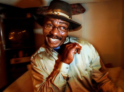 """Hurricane"" Carter strikes a boxing pose during an interview at his home in Toronto on Dec. 28, 1999. Carter died on April 20, 2014 at his home after a battle with prostate cancer. He was 76."