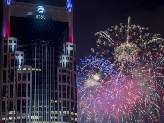 Fireworks light up the downtown skyline as seen from