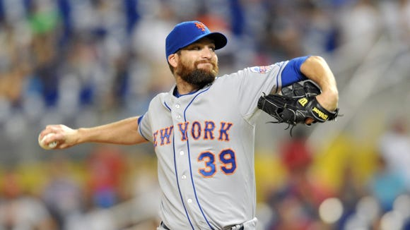 Jul 30, 2013; Miami, FL, USA; New York Mets relief pitcher Bobby Parnell (39) delivers a pitch during the ninth inning against the Miami Marlins at Marlins Park. The Mets won 4-2 in ten innings. Mandatory Credit: Steve Mitchell-USA TODAY Sports
