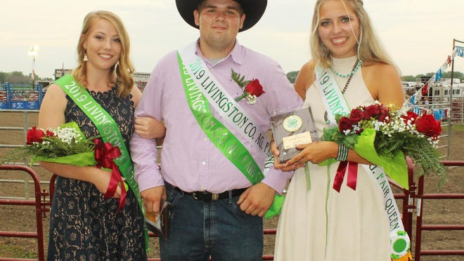 Laney Hunter, right, and Garrett Pratt, middle, will appear to reign as Livingston County 4H Fair queen and king for another year after it was announced that the 2020 edition of the annual gathering has been cancelled. Hunter was from Flanagan Town and Country while Pratt represented Graymont Achievers. At left is queen runnerup Mackenzie Mantia of Pontiac Power Rockets.