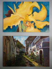 Winkie Dawkins taught herself to oil paint. She enjoys different styles from the free and colorful yellow flower she painted from imagination, to a street in Italy that she walked and spent 2 weeks painting when she returned home. June 20, 2017.