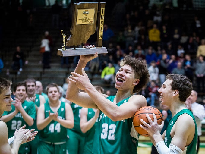 New Castle celebrates defeating Delta in the sectional