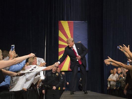Donald Trump speaks in Phoenix