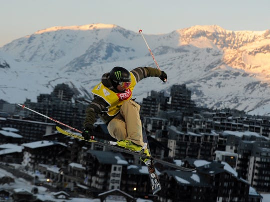 US David Wise competes during the men's ski superpipe