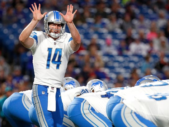 Lions quarterback Jake Rudock audibles in the first half against the Bills at New Era Field on Aug. 31, 2017.