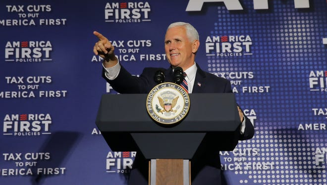 """Vice President of the United States, Mike Pence speaks during the """"Tax Cuts to Put America First"""" town hall at the Indianapolis Downtown Marriott in Indianapolis on Friday, May 18, 2018. America's First policies organized the event."""