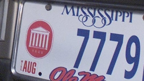 Ole Miss license plate from 2002