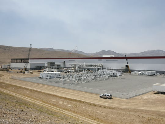 An overall view of the new Tesla Gigafactory is seen