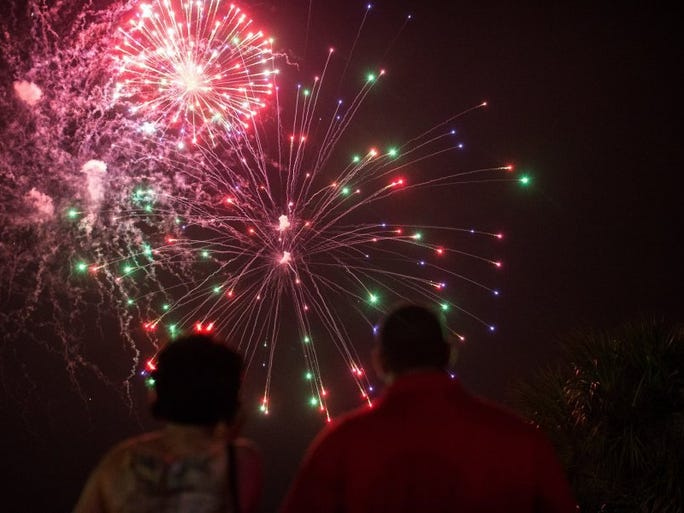 COURTNEY SACCO/CALLER-TIMES Fiesta de la Flor closed with fireworks over the Bayfront, Saturday, May 7, 2016.