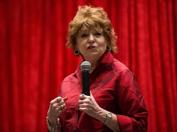 COURTNEY SACCO/CALLER-TIMES Donna Hartley speaks during the annual Go Red for Women Luncheon in the American Bank Center's Henry Garrett Ballroom
