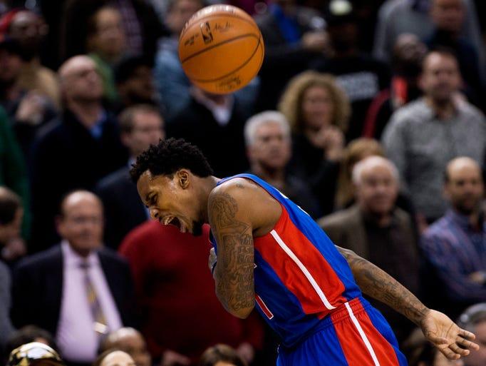 Detroit Pistons guard Brandon Jennings reacts after
